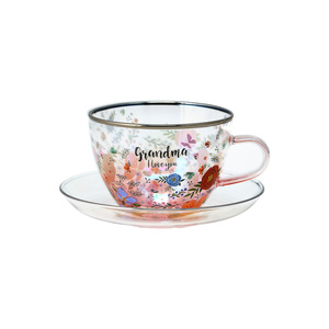 Grandma by Bunches of Love - 7 oz Glass Tea Cup and Saucer