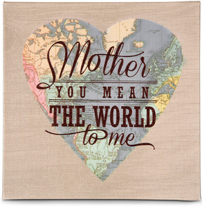 "Mother by Global Love - 5"" x 5"" Canvas Heart Plaque"