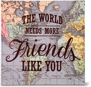 "Friends by Global Love - 5"" x 5"" Canvas Plaque"
