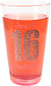 Sixteen by Happy Occasions - 16 oz Pint Glass Tumbler