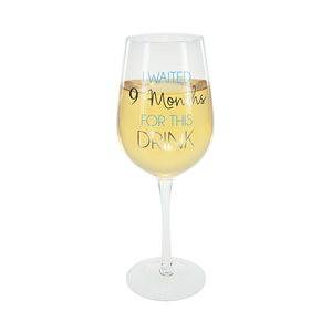9 Months Blue by Happy Occasions - 16 oz. Crystal Wine Glass