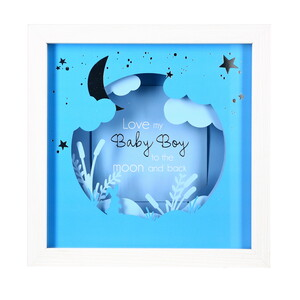 "Baby Boy by Happy Occasions - 7.75"" Shadow Box Frame (Holds 4"" x 4"" Photo)"