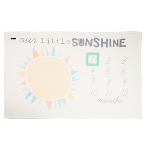 "Our Little Sunshine by Sunshine & Rainbows - 60"" x 40"" Milestone Royal Plush Blanket"