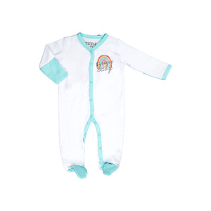 Blessed Baby by Sunshine & Rainbows - 0-6 Months Teal Trimmed Sleeper