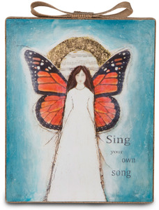 "Sing by Sherry Cook Studio - 6.75"" Butterfly Angel Sheet Music Plaque"