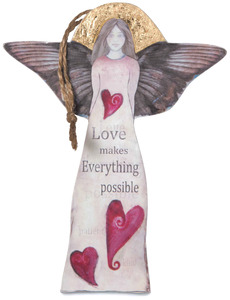 "Love by Sherry Cook Studio - 5.25"" Angel & Hearts Ornament"