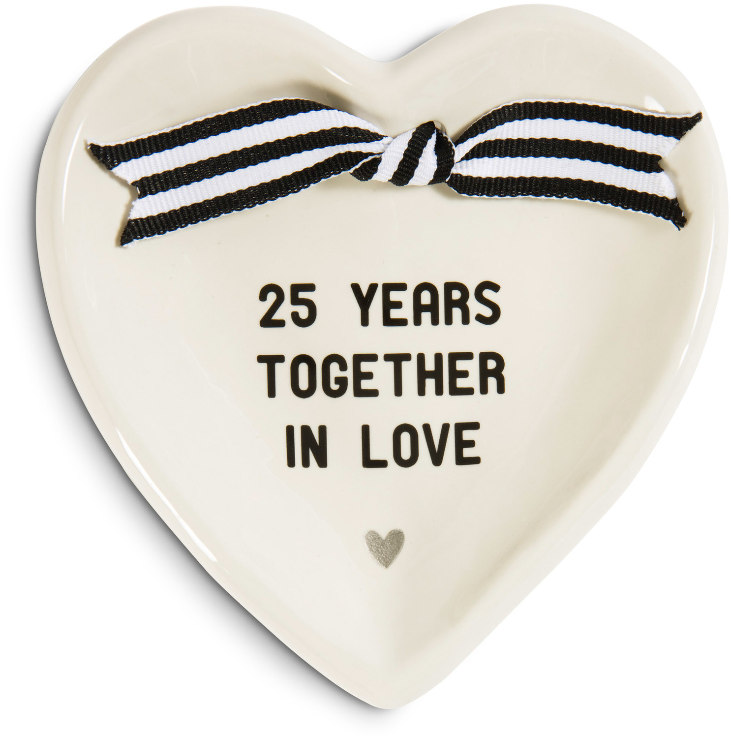 "25th Anniversary by The Milestone Collection - 25th Anniversary - 4.5"" x 4.5"" Heart-Shaped Keepsake Dish"
