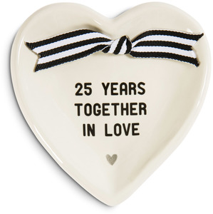 "25th Anniversary by The Milestone Collection - 4.5"" x 4.5"" Heart-Shaped Keepsake Dish"