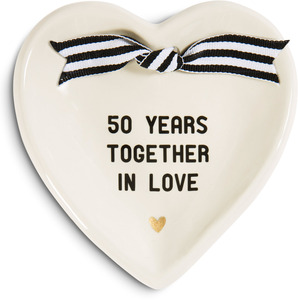 "50th Anniversary by The Milestone Collection - 4.5"" x 4.5"" Heart-Shaped Keepsake Dish"