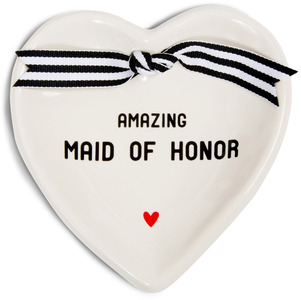 "Maid of Honor by The Milestone Collection - 4.5"" x 4.5"" Heart-Shaped Keepsake Dish"