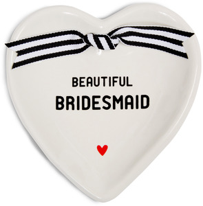 "Bridesmaid by The Milestone Collection - 4.5"" x 4.5"" Heart-Shaped Keepsake Dish"