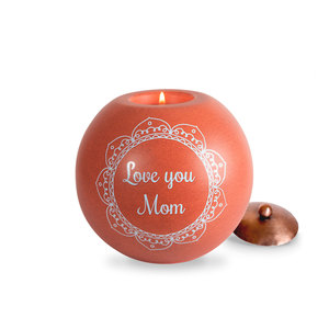 "Mom by Cinnamon Swirl - 5"" Round Candle Holder"