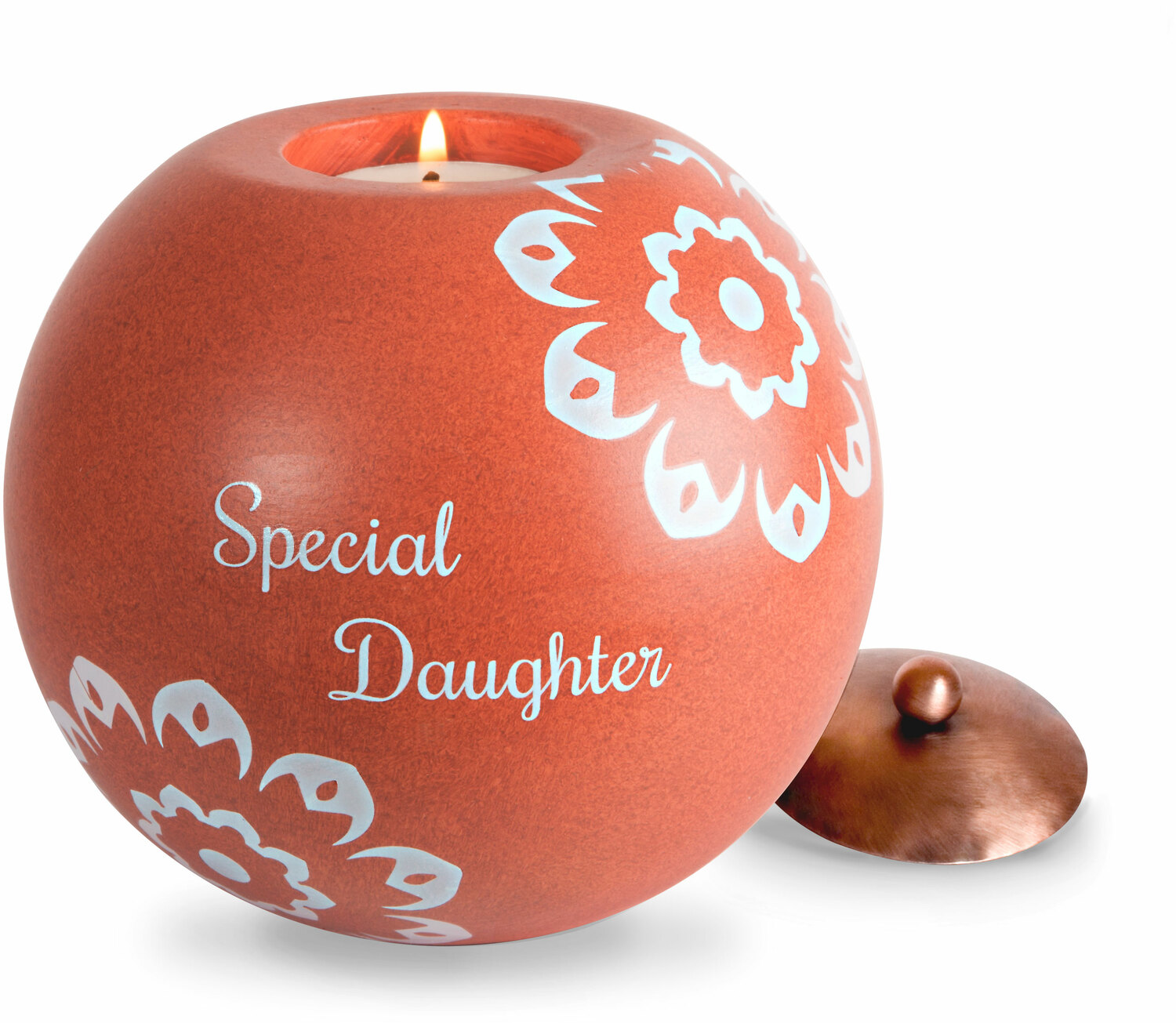 "Daughter by Cinnamon Swirl - Daughter - 5"" Round Candle Holder"