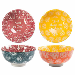 "Savor & Celebrate by Cinnamon Swirl - 4.75"" Porcelain Bowl Set"