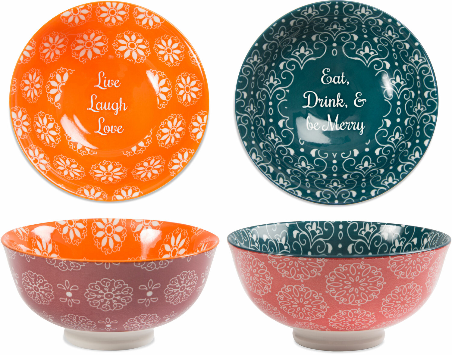 "Be Merry & Love by Cinnamon Swirl - Be Merry & Love - 4.75"" Porcelain Bowl Set"