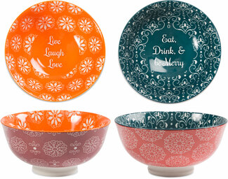 "Be Merry & Love by Cinnamon Swirl - 4.75"" Porcelain Bowl Set"