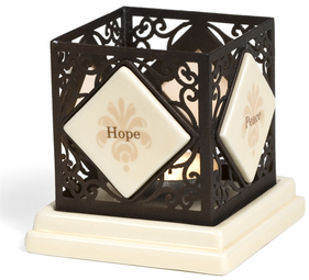 "Hope/Peace/Love/Faith by Simply Stated - 3.25"" Square Candle Holder"