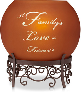 "Family by Simply Stated - 5.25"" Rounds Amber Candle Holder"