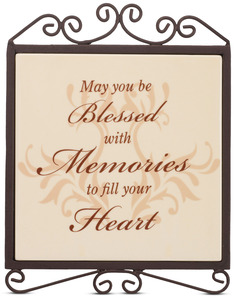 "Blessed with Memories by Simply Stated - 5""x6.5""Plaque w/Metal Scroll"