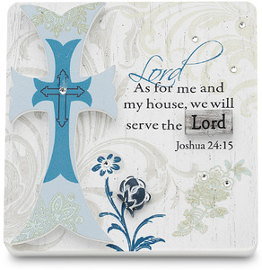 "Serve the Lord by Mark My Words - 3"" x 3"" Self Standing Plaque"