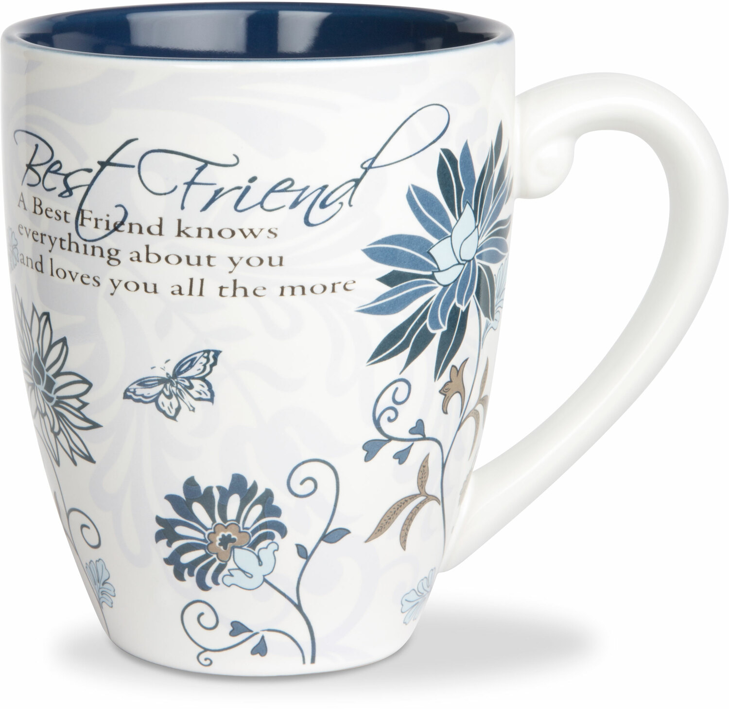 Best Friends by Mark My Words - Large Flower Print Best Friends Coffee Mug, 20 oz