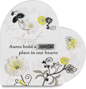 "Aunt by Mark My Words - 3"" Self Standing Heart Plaque"