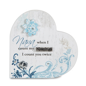 "Nana by Mark My Words - 3"" Self-Standing Heart Plaque"