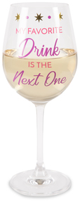 Favorite Drink by My Kinda Girl - 12 oz Crystal Wine Glass