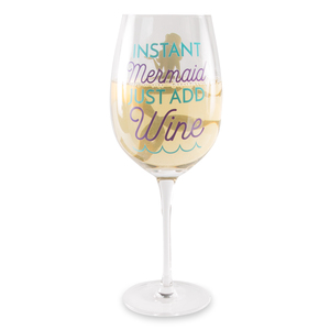 Instant Mermaid by My Kinda Girl - 12 oz Crystal Wine Glass