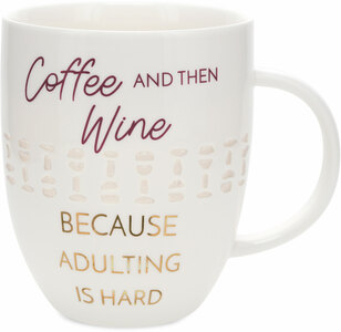 Coffee and then Wine by My Kinda Girl - 24 oz Pierced Porcelain Cup