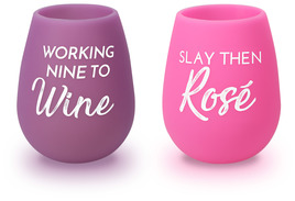 Slay then Rosé by My Kinda Girl - 13 oz Silicone Wine Glasses (Set of 2)