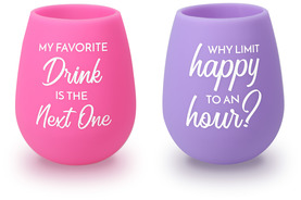 Happy Hour by My Kinda Girl - 13 oz Silicone Wine Glasses (Set of 2)