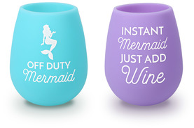 Off Duty Mermaid by My Kinda Girl - 13 oz Silicone Wine Glasses (Set of 2)