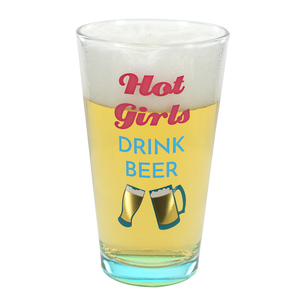 Hot Girls by My Kinda Girl - 16 oz Pint Glass Tumbler