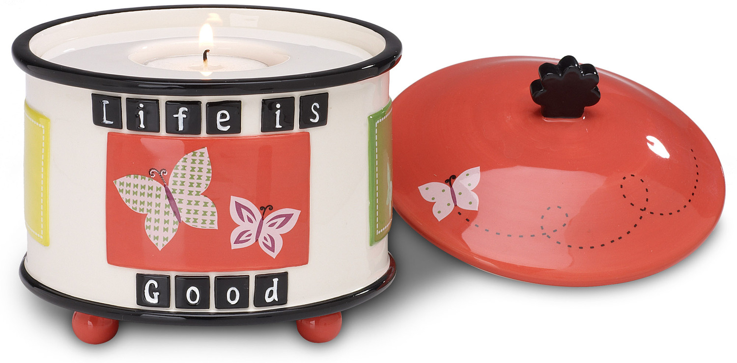 "Life is Good by Groovy Garden - Life is Good - 4.5"" Tea Light Holder w/Lid"