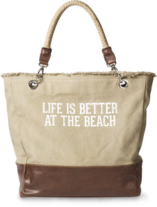 "Life is Better at the Beach by We People - 18"" x 15"" x 6.75"" Large Canvas and Vegan Leather Tote Bag"