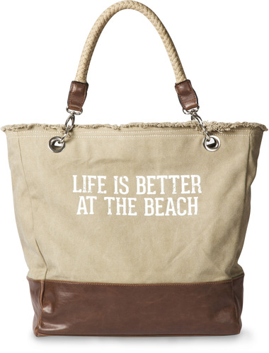 2ba695639008 Life is Better at the Beach Large Tote Canvas Beach Bag -