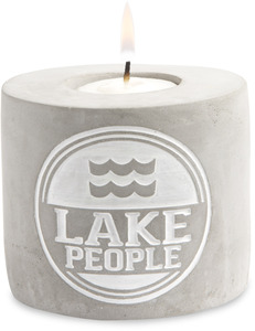 "Lake People by We People - 3.5"" x 3"" Cement Candle Holder"