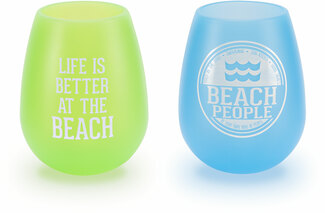 Beach People by We People - 13 oz Silicone Wine Glasses (Set of 2)