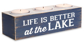 "Life is Better at the Lake by We People - 7""x2""x2"" MDF Tea Light Holder"