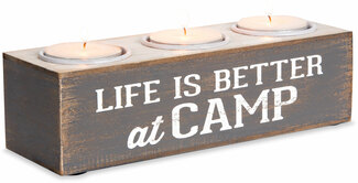 "Life is Better at Camp by We People - 7""x2""x2"" MDF Tea Light Holder"