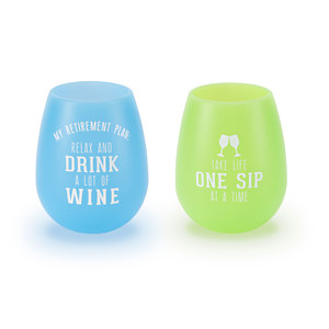 Retired People by We People - 13 oz Silicone Wine Glasses (Set of 2)