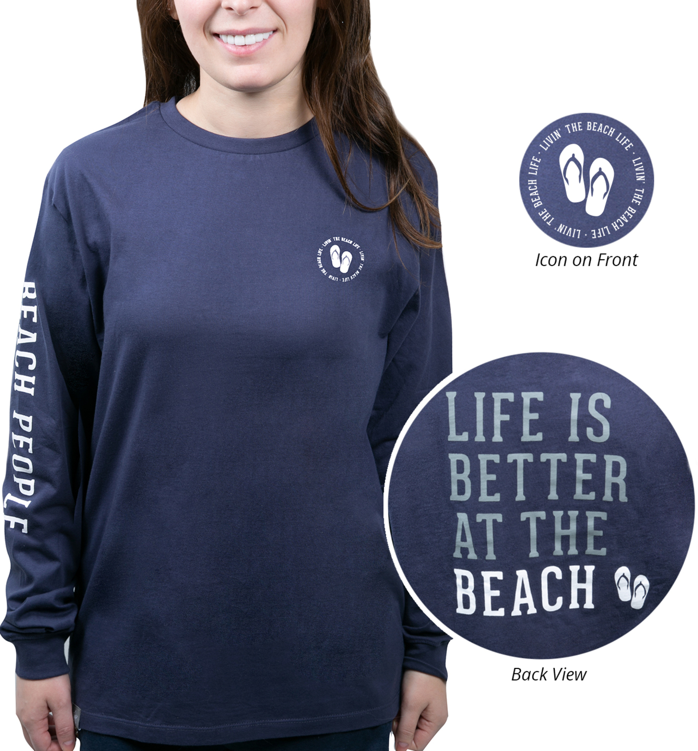 Beach People by We People - Beach People - Small Navy Unisex Long Sleeve T-Shirt
