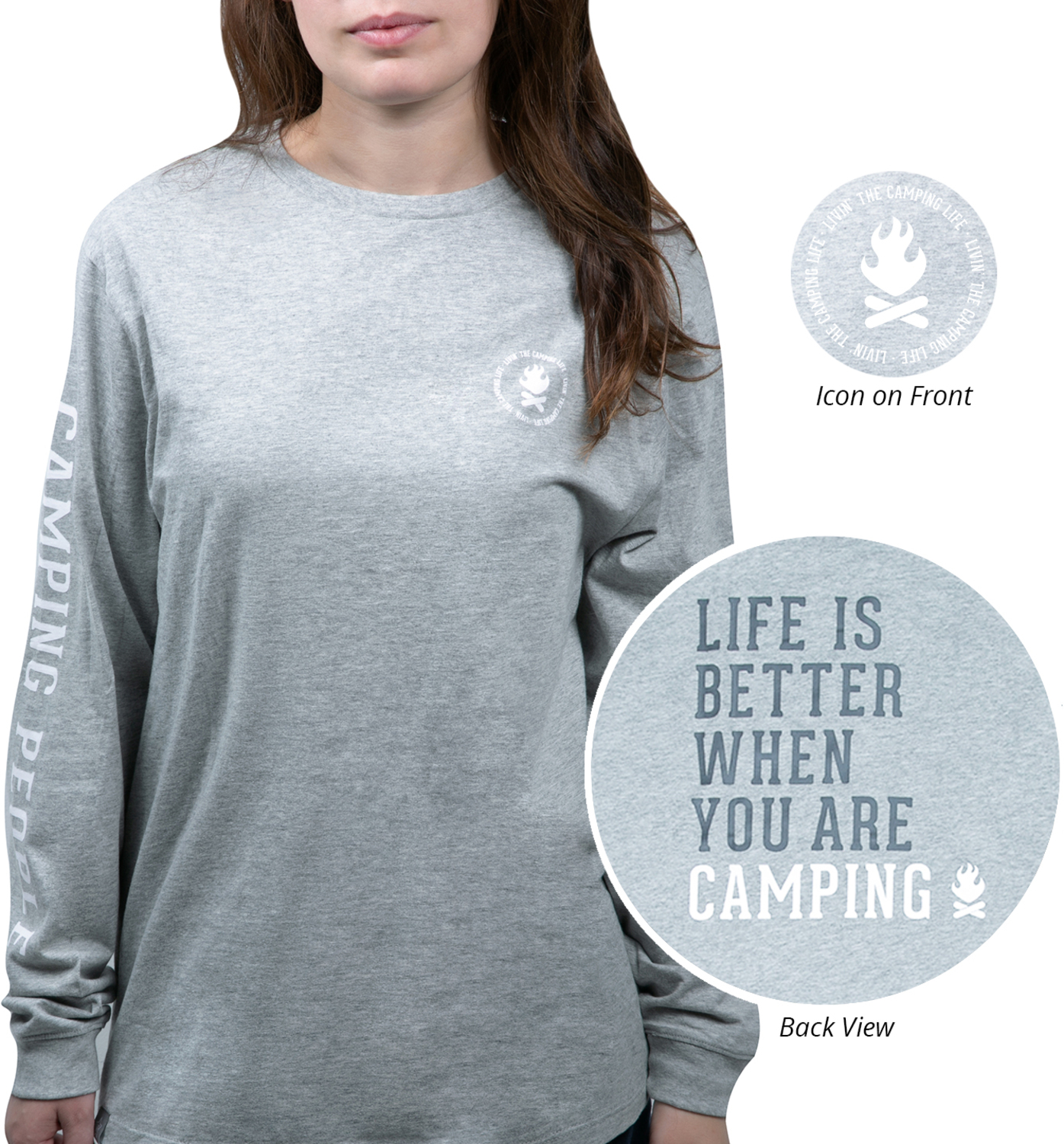 Camping People by We People - Camping People - Small Heather Gray Unisex Long Sleeve T-Shirt