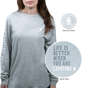 Camping People by We People - Small Heather Gray Unisex Long Sleeve T-Shirt