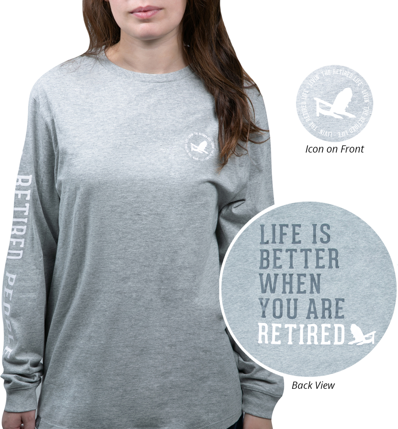 Retired People by We People - Retired People - Small Heather Gray Unisex Long Sleeve T-Shirt