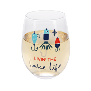 Livin' the Lake Life by We People - 18 oz Stemless Wine Glass