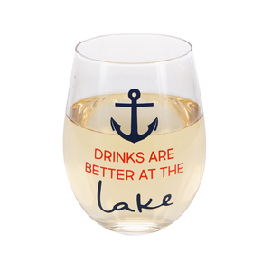 Better at the Lake  by We People - 18 oz Stemless Wine Glass