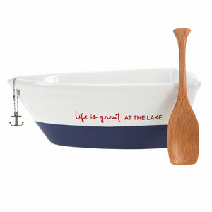 "At the Lake by We People - 7"" Boat Serving Dish with Oar"