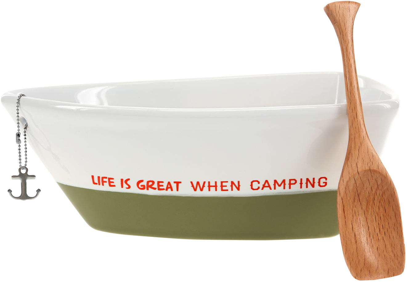 "When Camping by We People - When Camping - 7"" Boat Serving Dish with Oar"